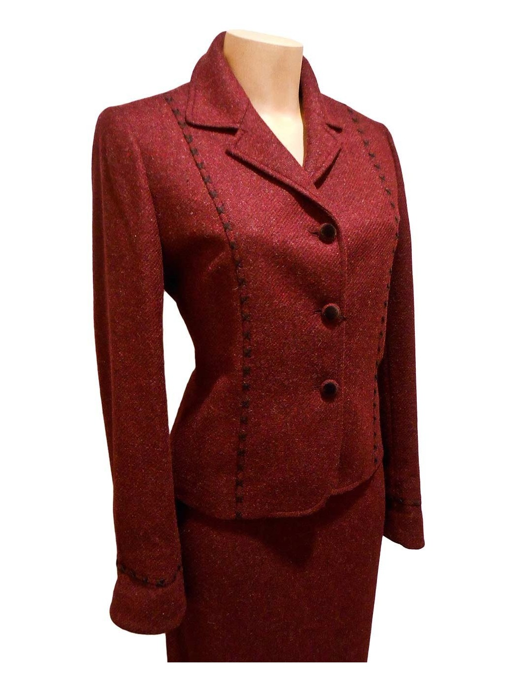 Burgundy wool suit