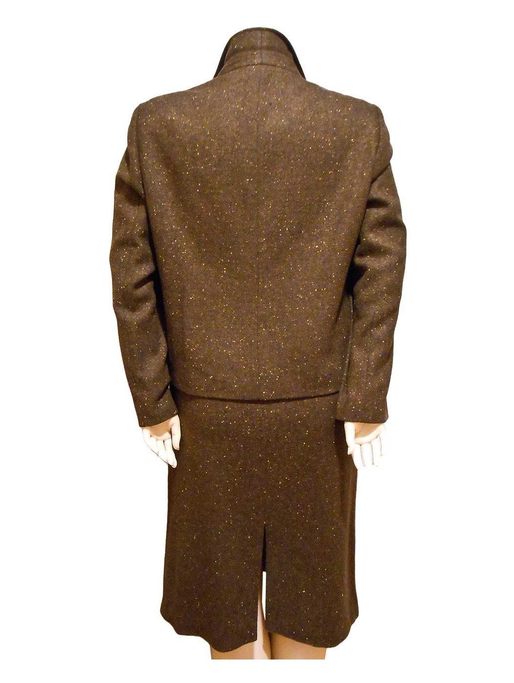 Tailleur tweed marrone