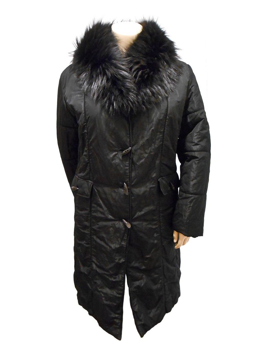 Organza padded coat with fur