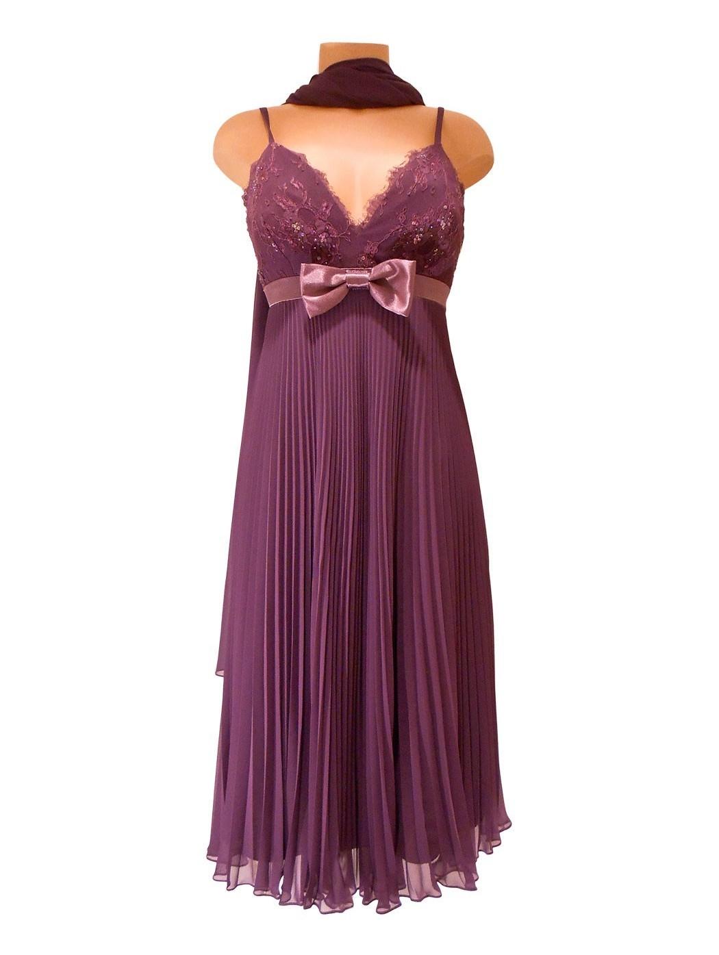 Плиссированные платье лука Джордани