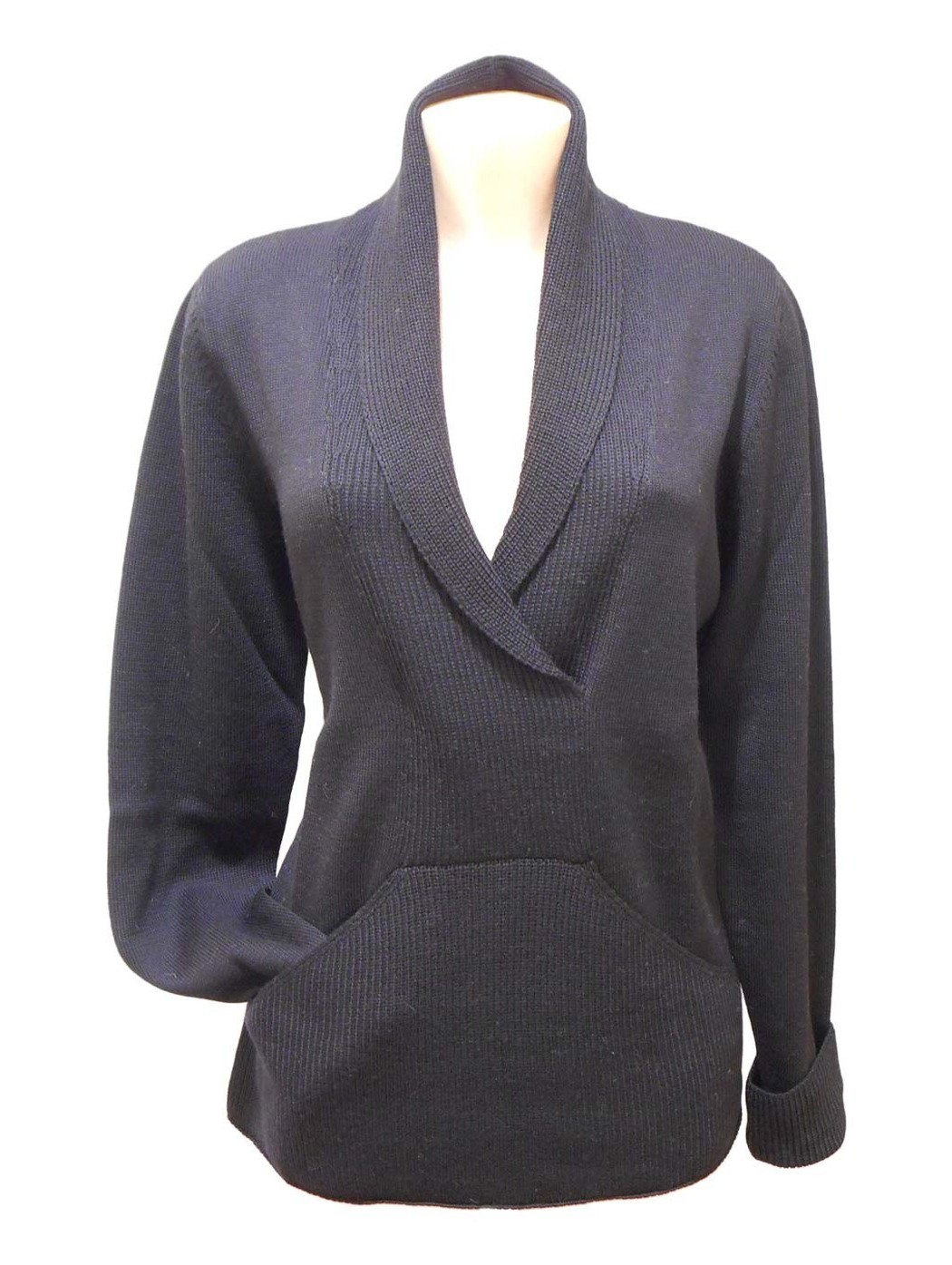 Black sweater with pouch pocket