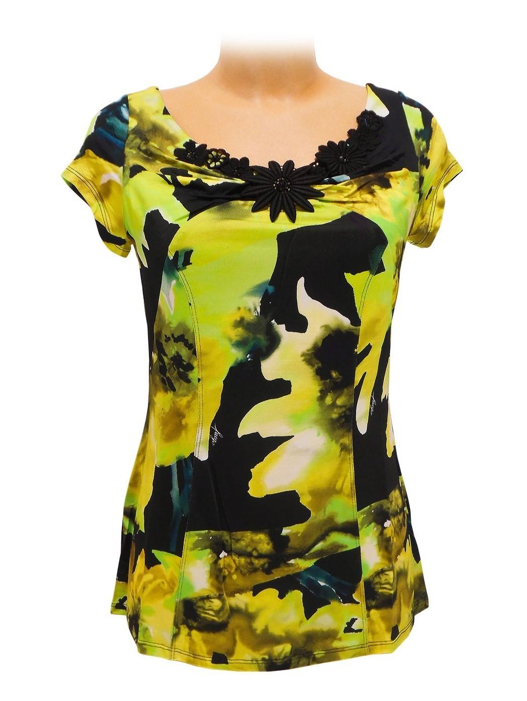 Green and yellow print t-shirt