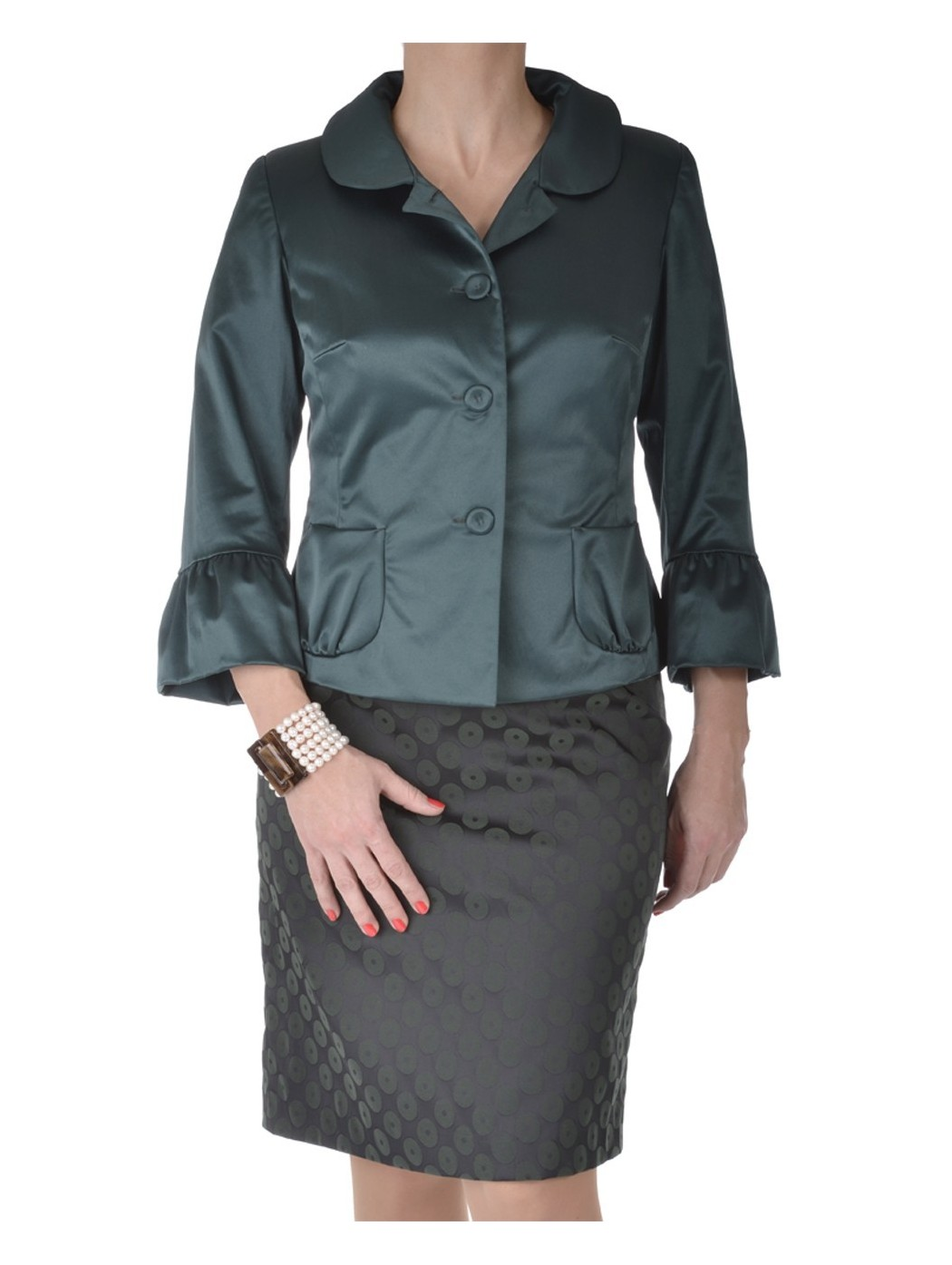 Zielona sukienka satynowa i kurtka Moonlight krople