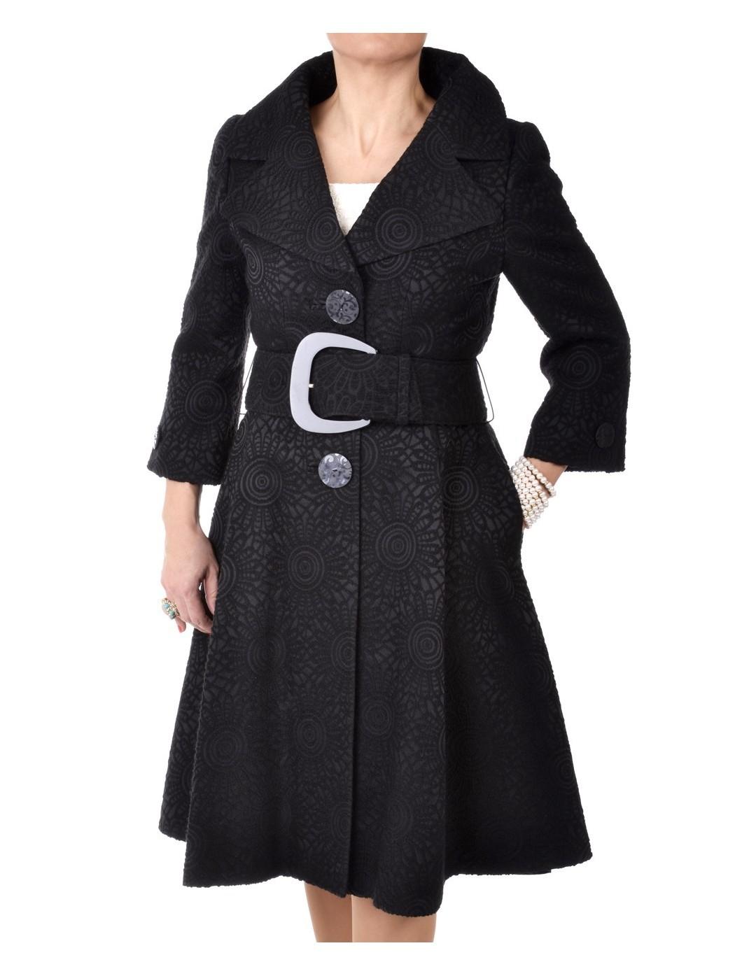 Cappotto broccato nero Marina Ricci