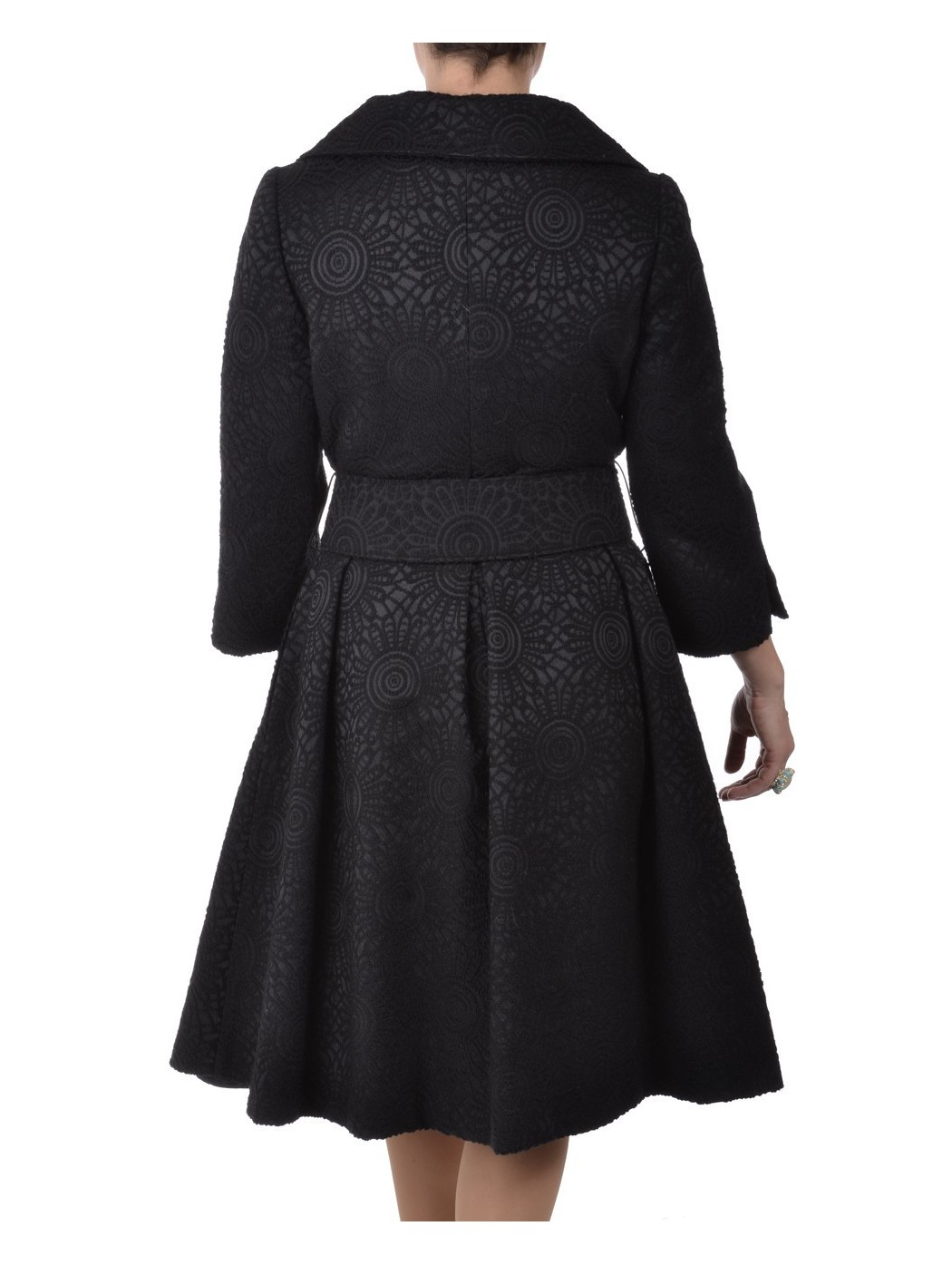 Black brocade coat by Marina Ricci