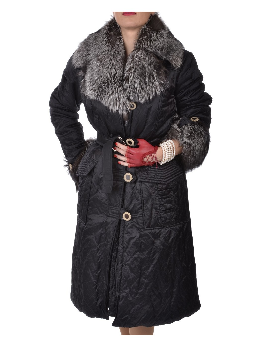 Elegant waterproof fur collar coat