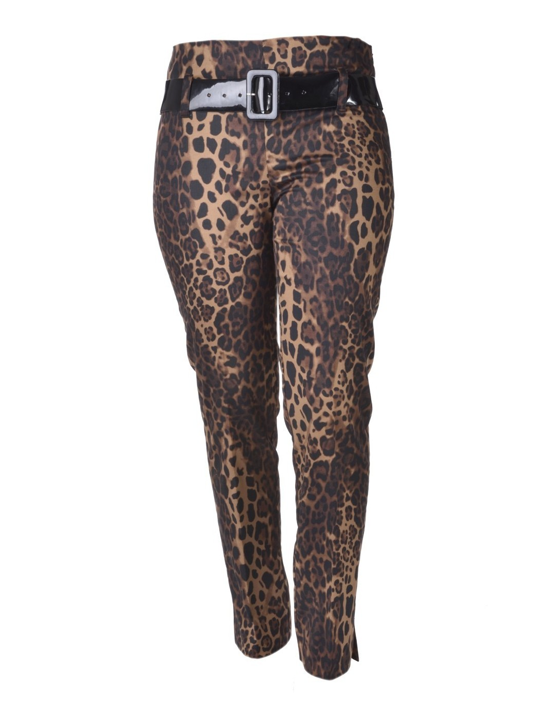 Animalier print sateen trousers.