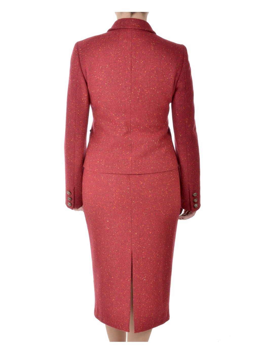 Red tweed suit by Hella