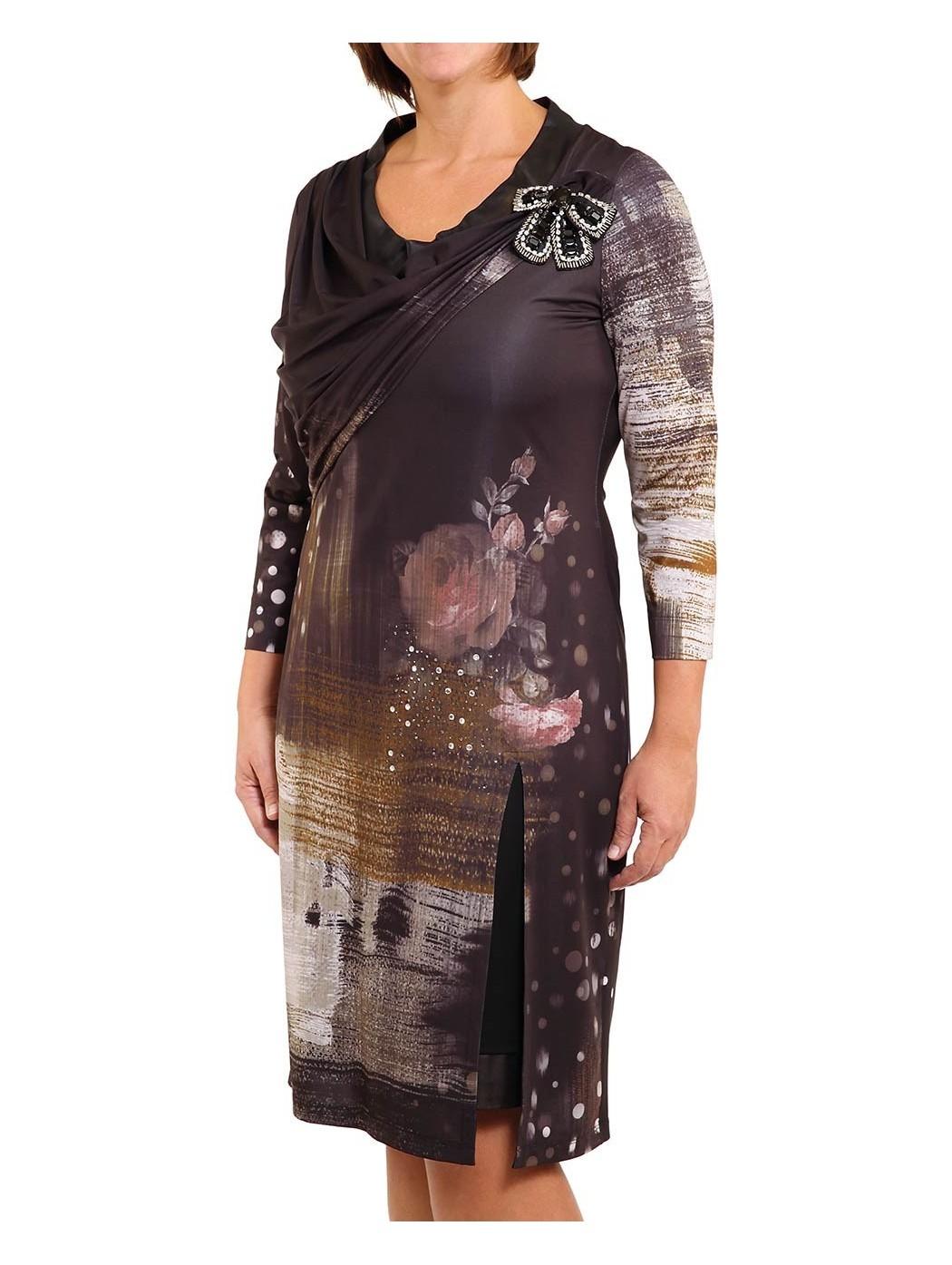 Элегантный трикотажное платье с кожей и кристаллов