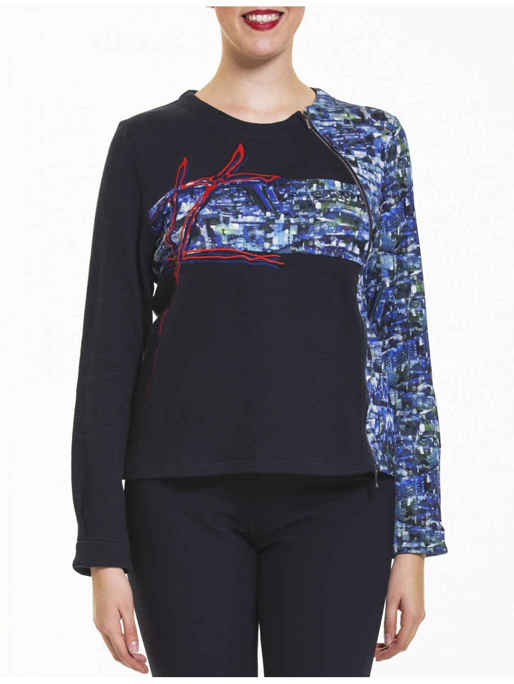 Giacca blu zip laterale Aventures des toiles