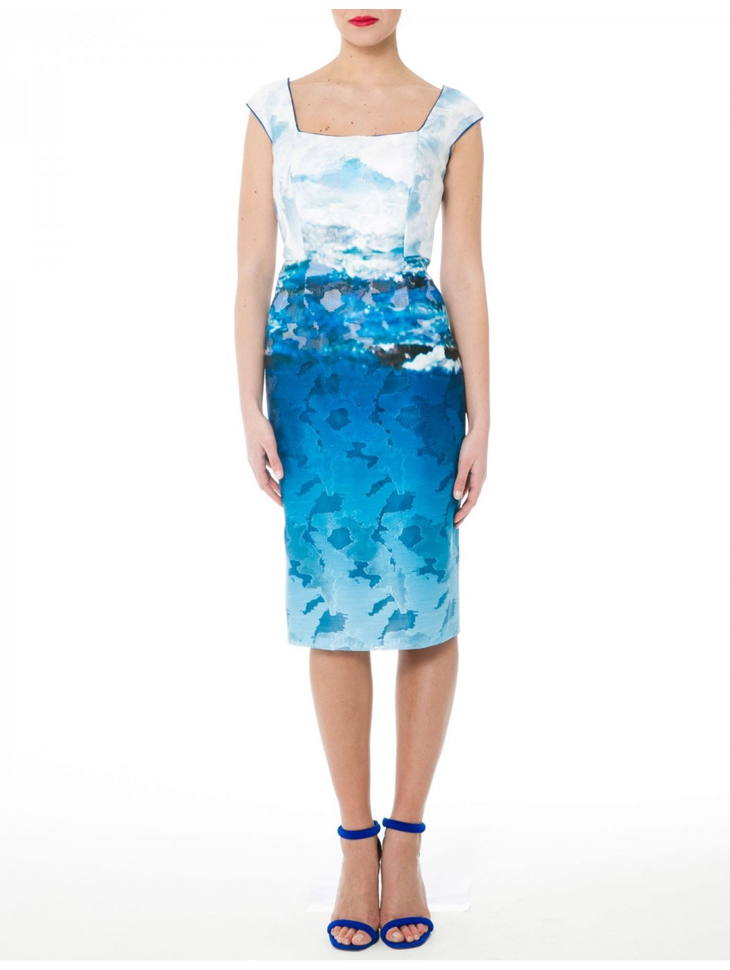 16242b62ad56 ... Sonia Pena Couture white and blue dress suit