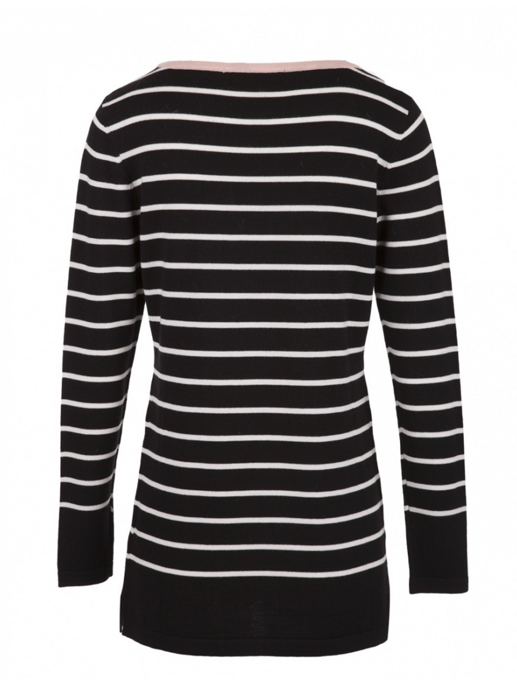 Ananke zac467 Black and white striped merino long sweater