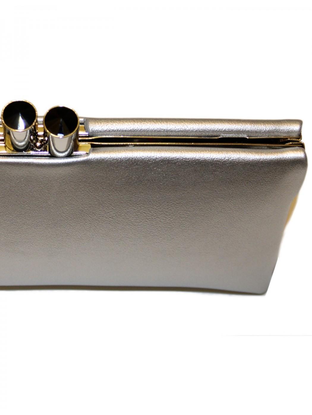Borsa in pelle argento Anna Cecere aca070
