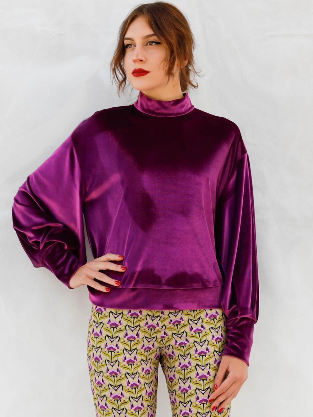 Purple velvet turtleneck...