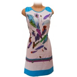 Dress with feathers print