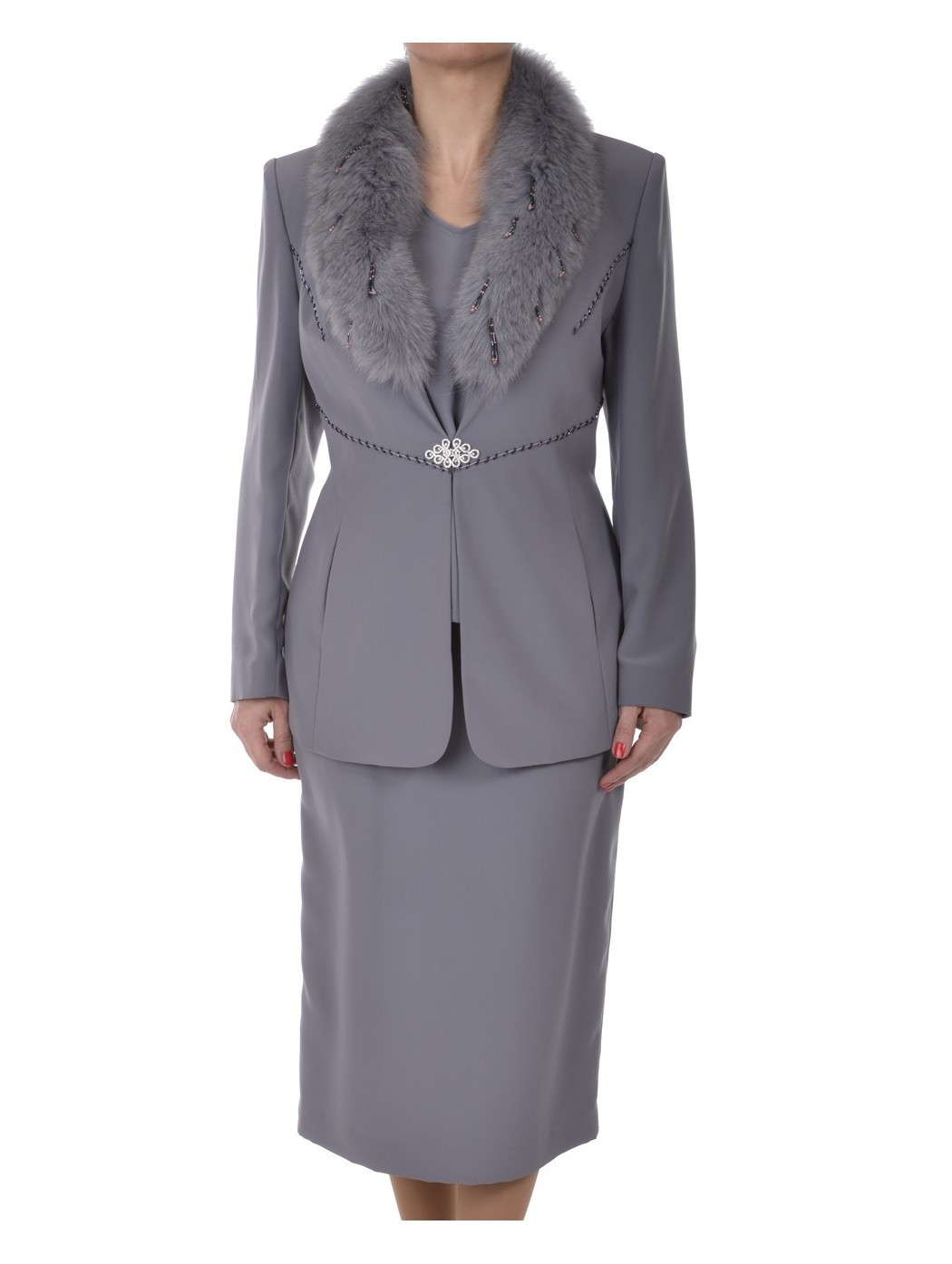 Grey suit with fur collar...