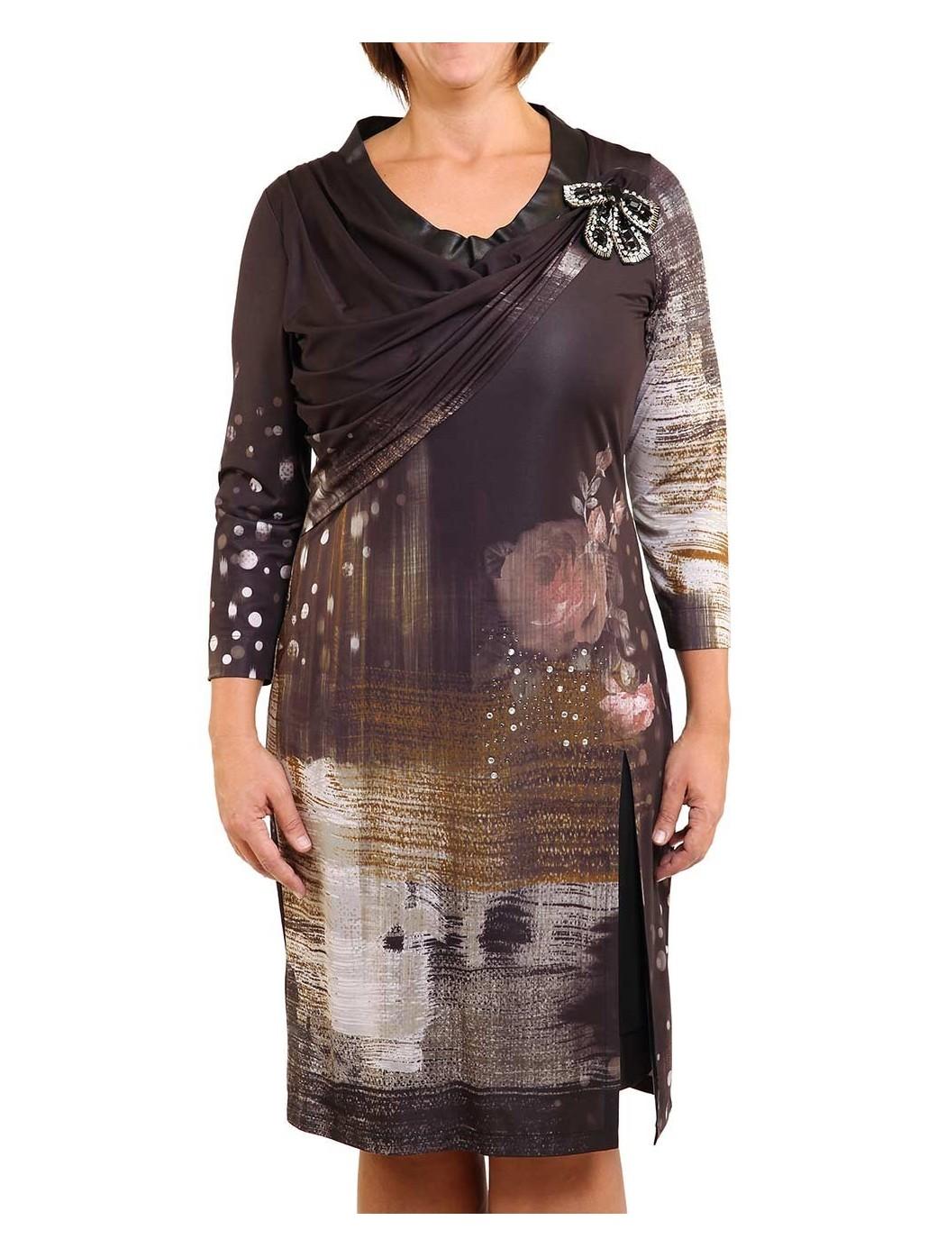 elegantes Kleid mit Leder...