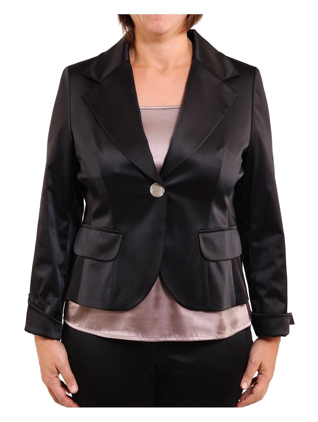 Блестящий черный сатин куртка