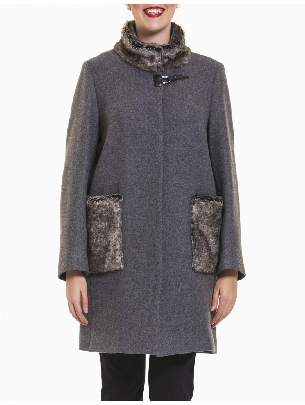 Cappotto grigio con pelliccia Calaluna