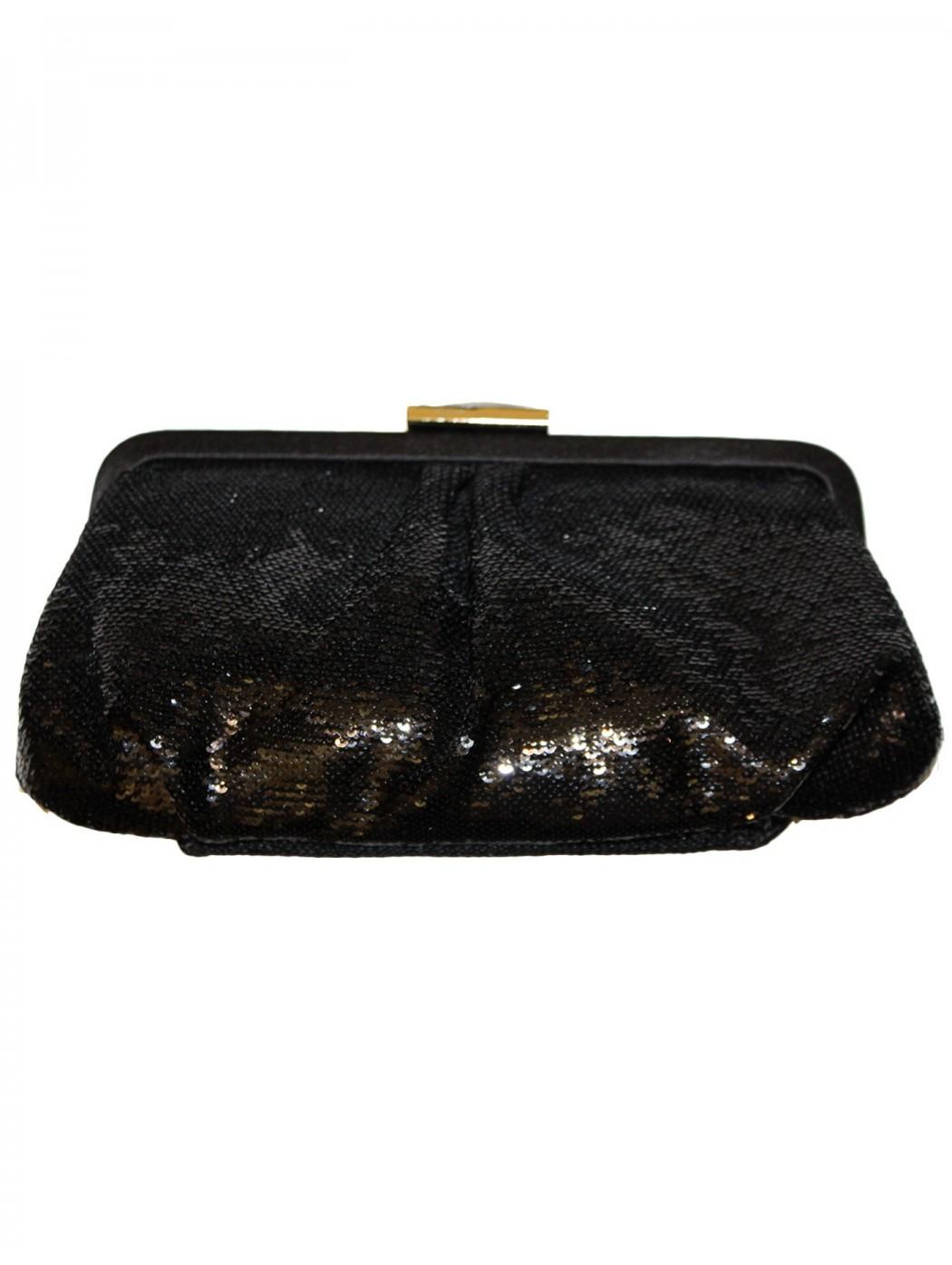 Pochette nera con paillettes acx675
