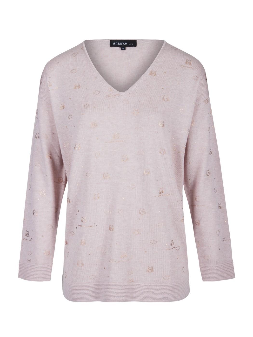 Pullover V rosa in lana...