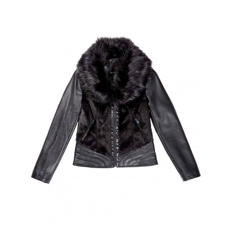 Make an effort Wide range anger  Giacca di pelle nera chiodo con pelliccia Paz Torras