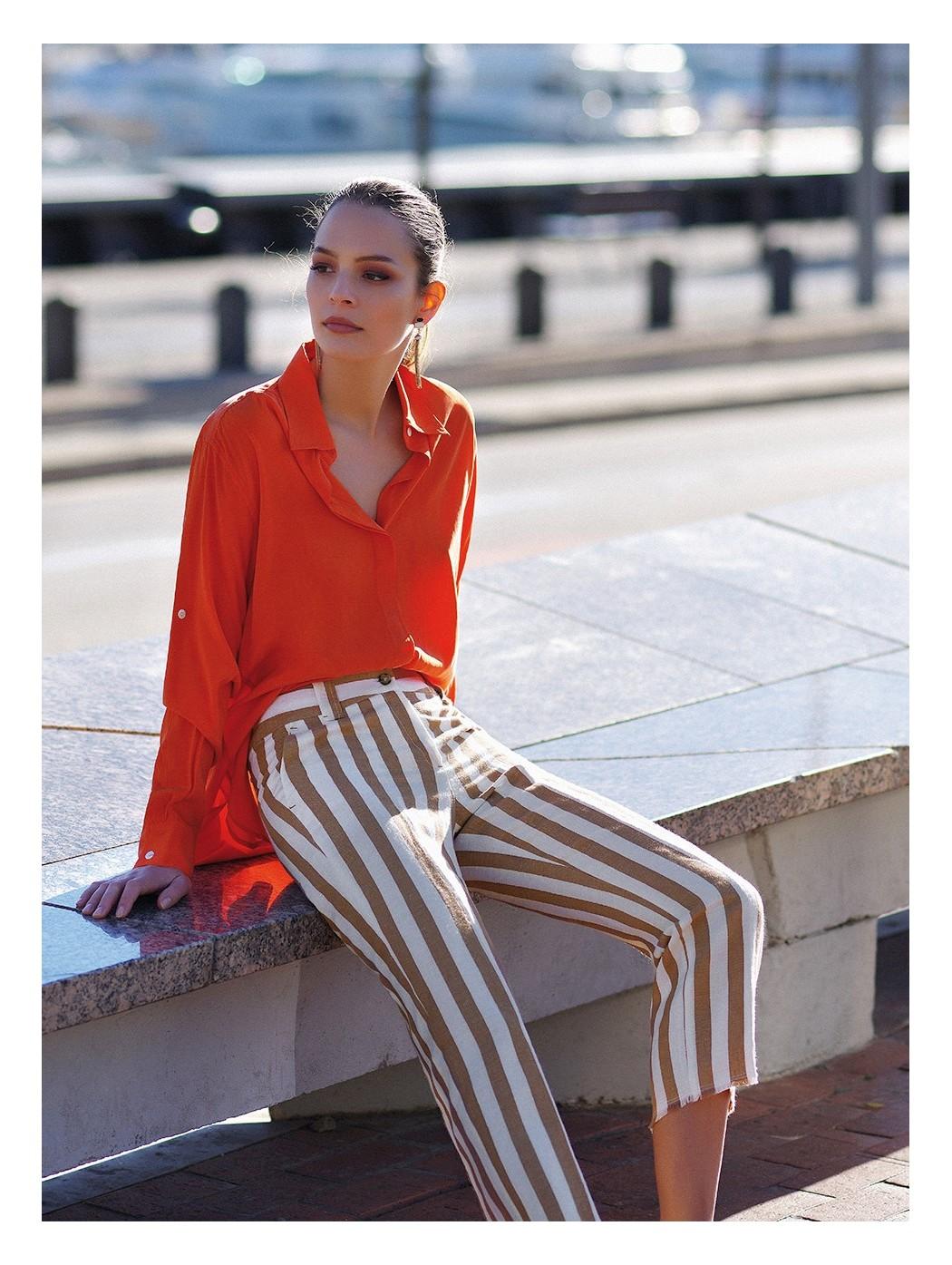Pantaloni di lino e seta a...