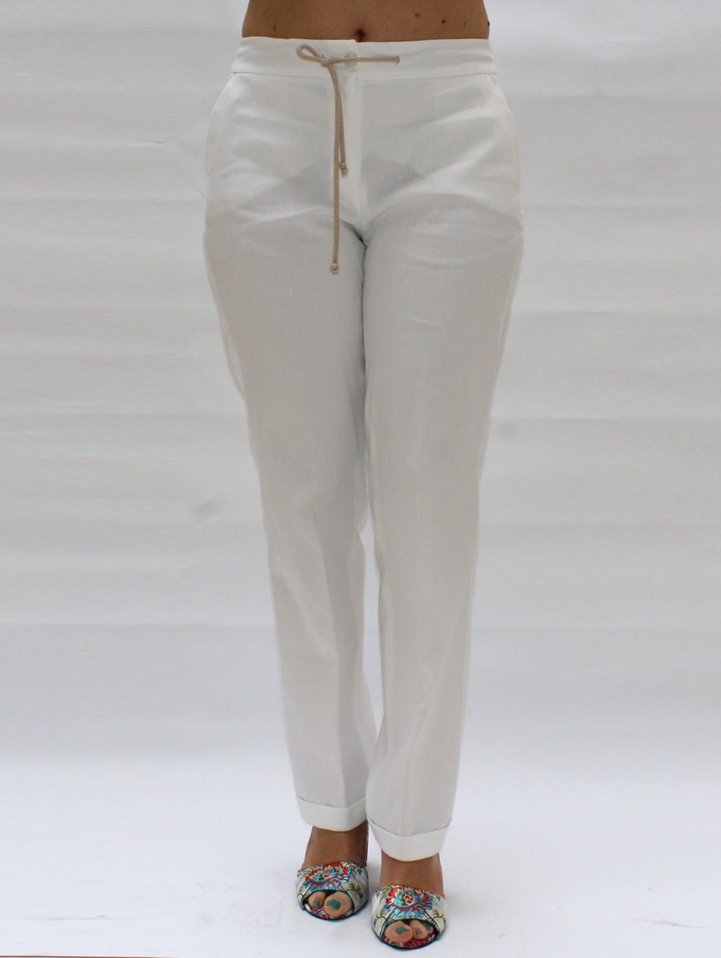 Pantaloni lino bianco con...