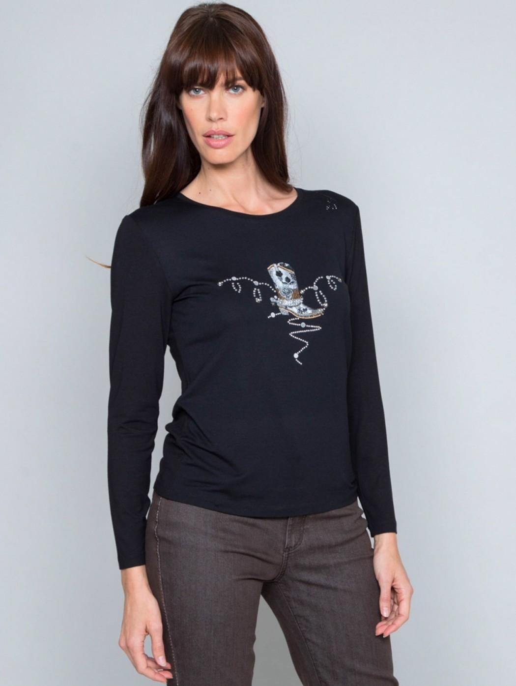 T-shirt maglia nera ricamo...