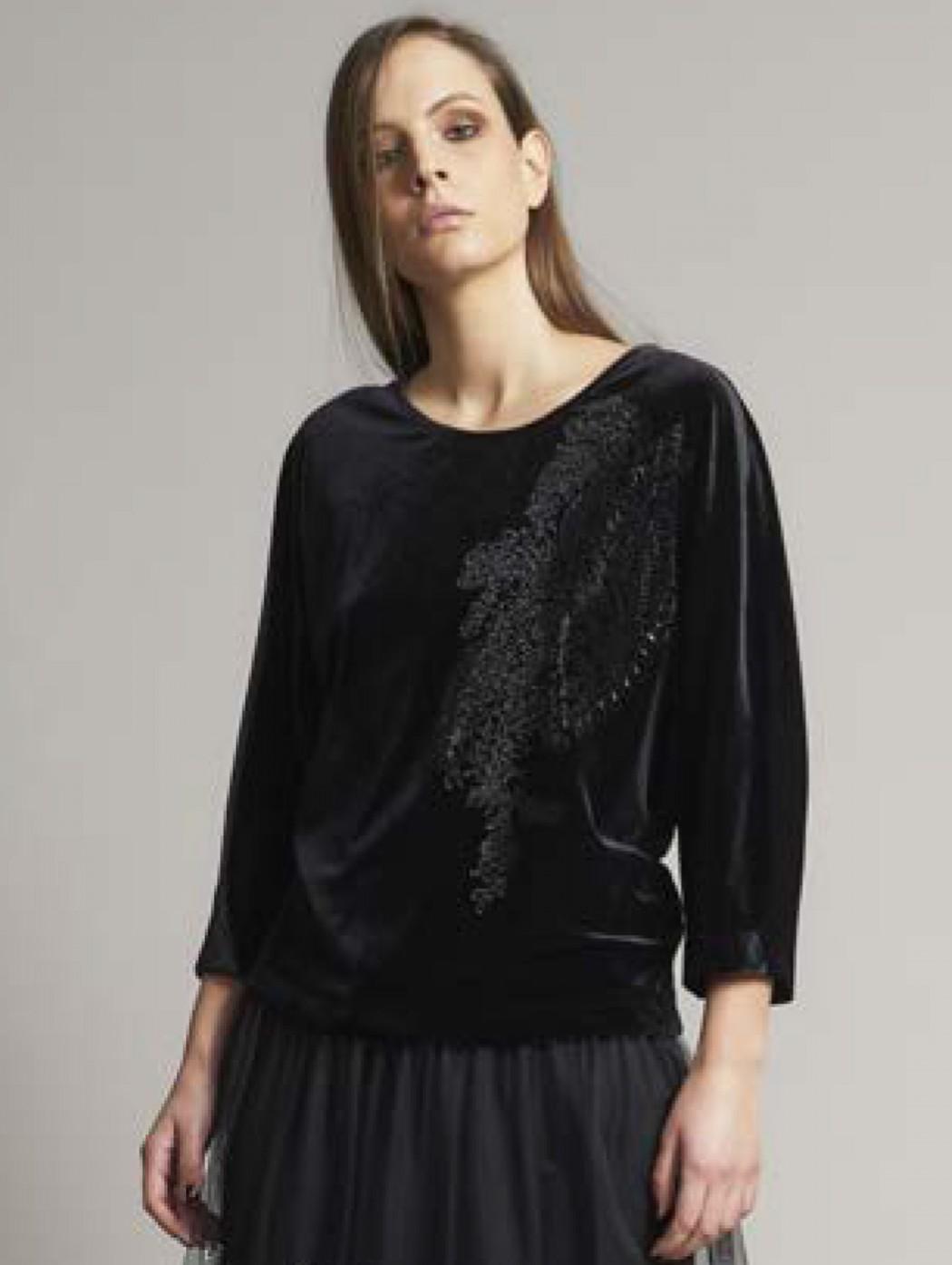 Piero Moretti Black Velvet Rhinestones Kimono Blouse Shirt