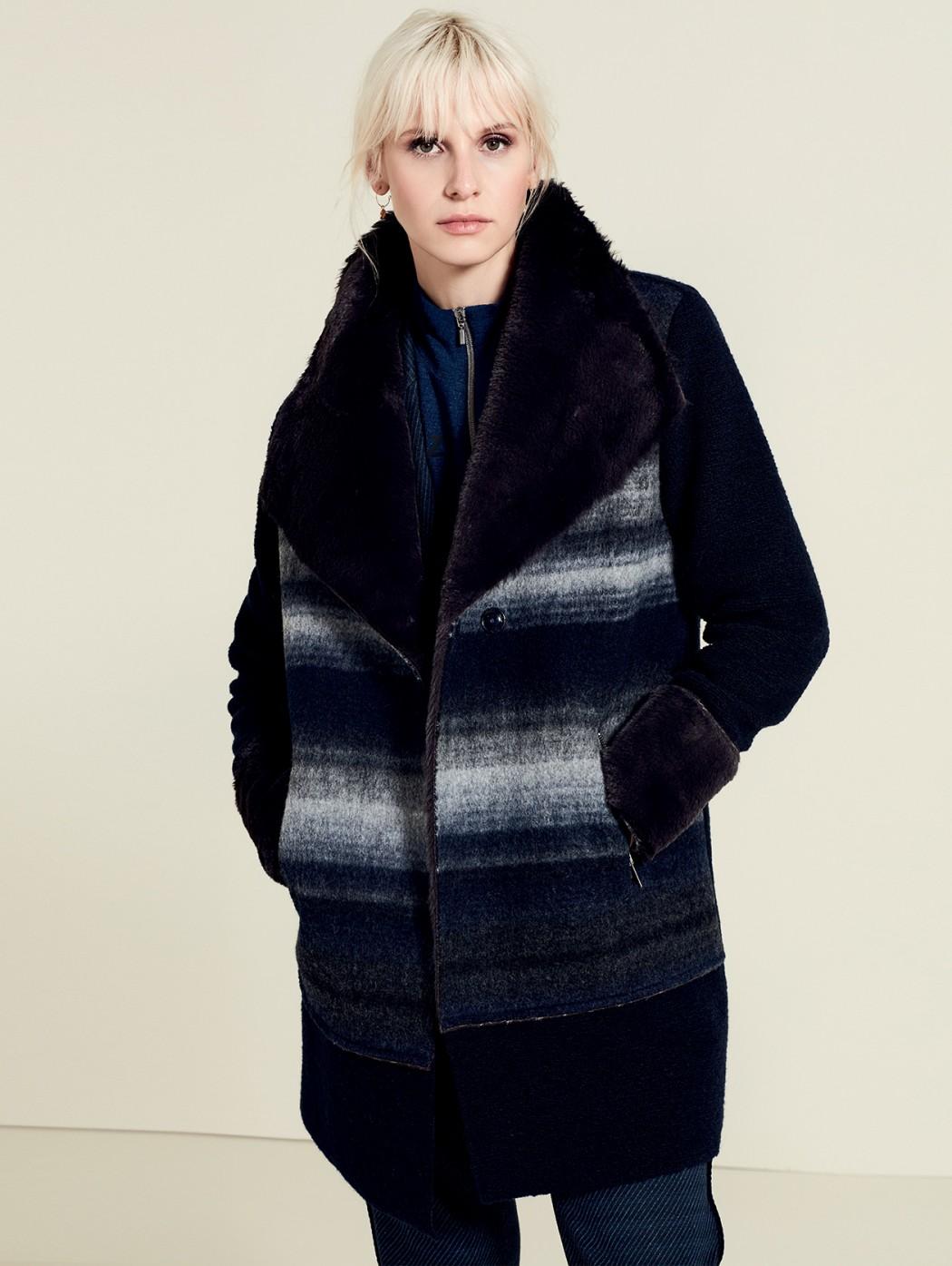 Giaccone lana cotta blu...
