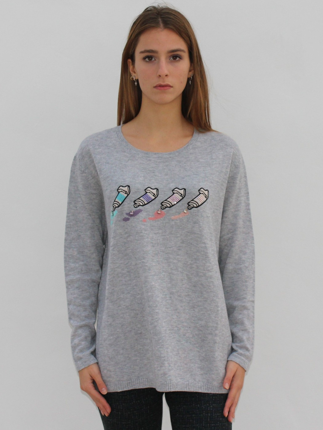 Maglia pullover lana grigio...