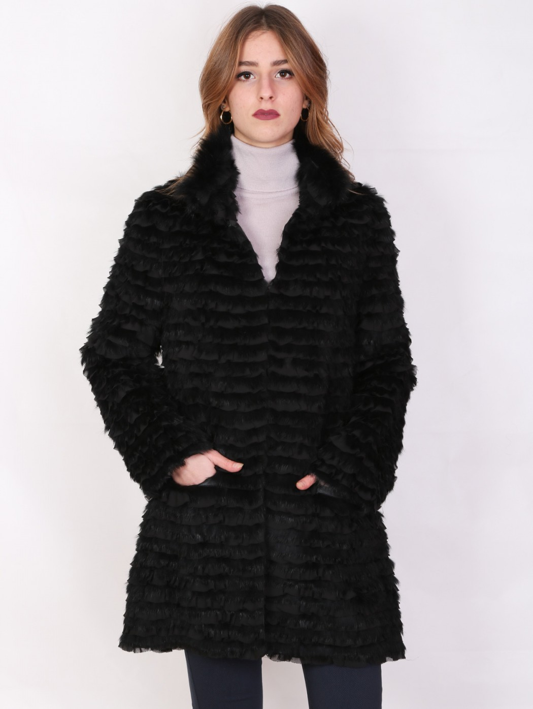 Black Real fur and silk...