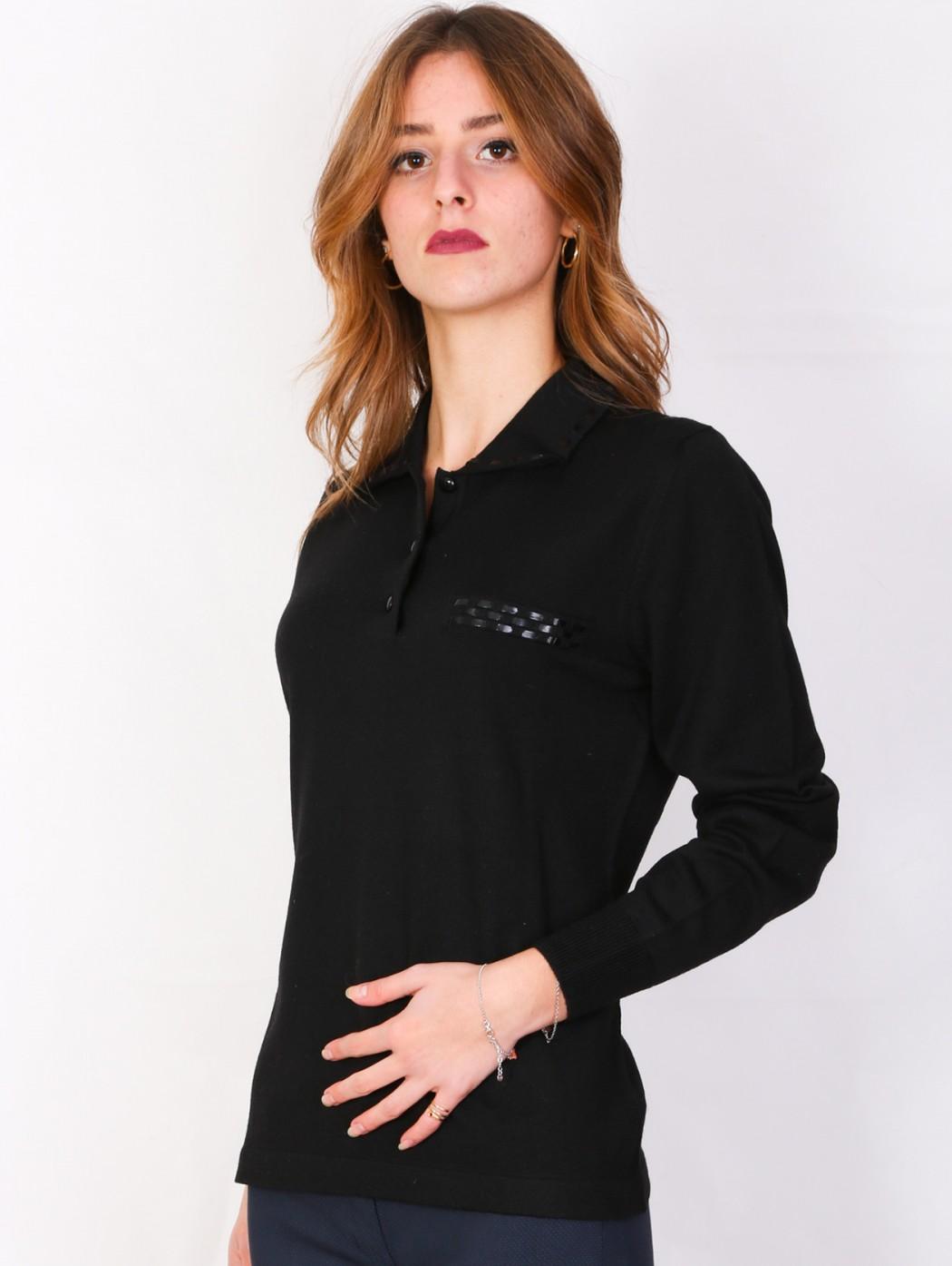Black merino wool polo neck...