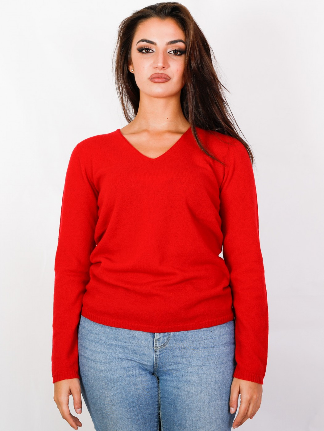 Maglia a V cashmere rosso...