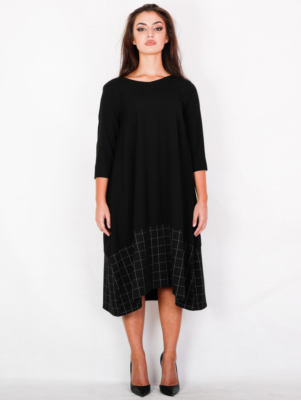 Black oversize midi long dress