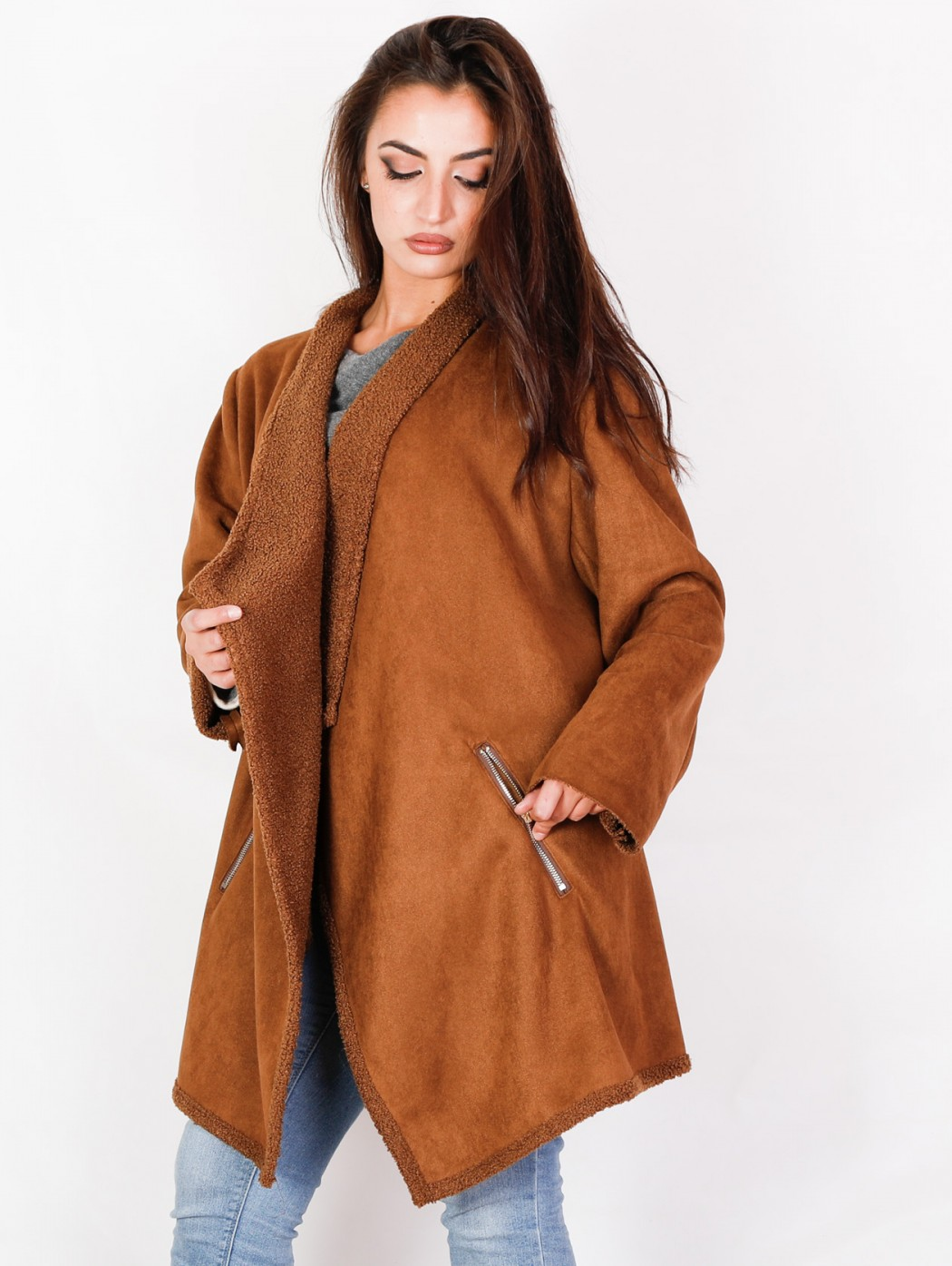 Plus size camel suede long...