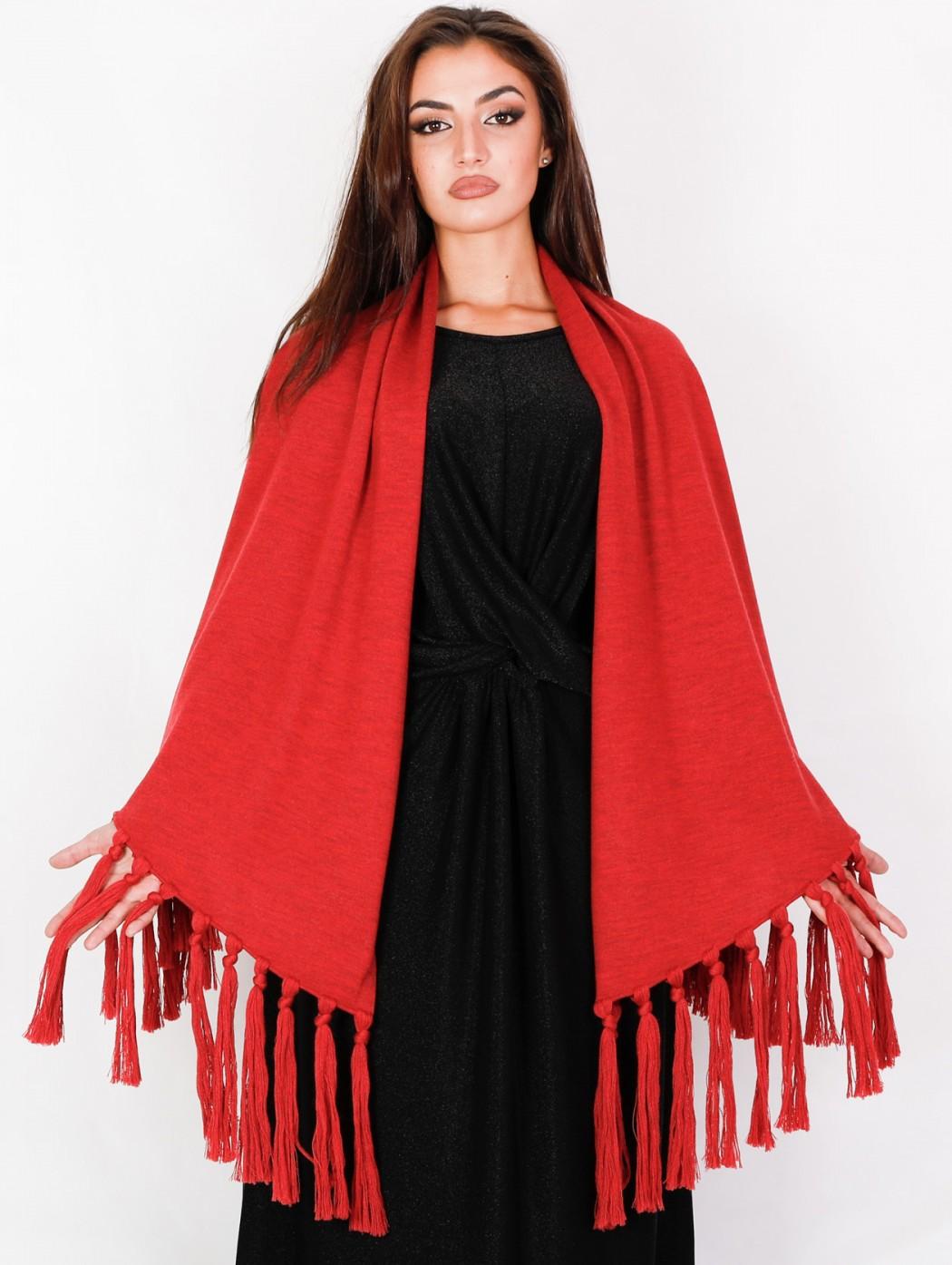 Red melange wool maxi...