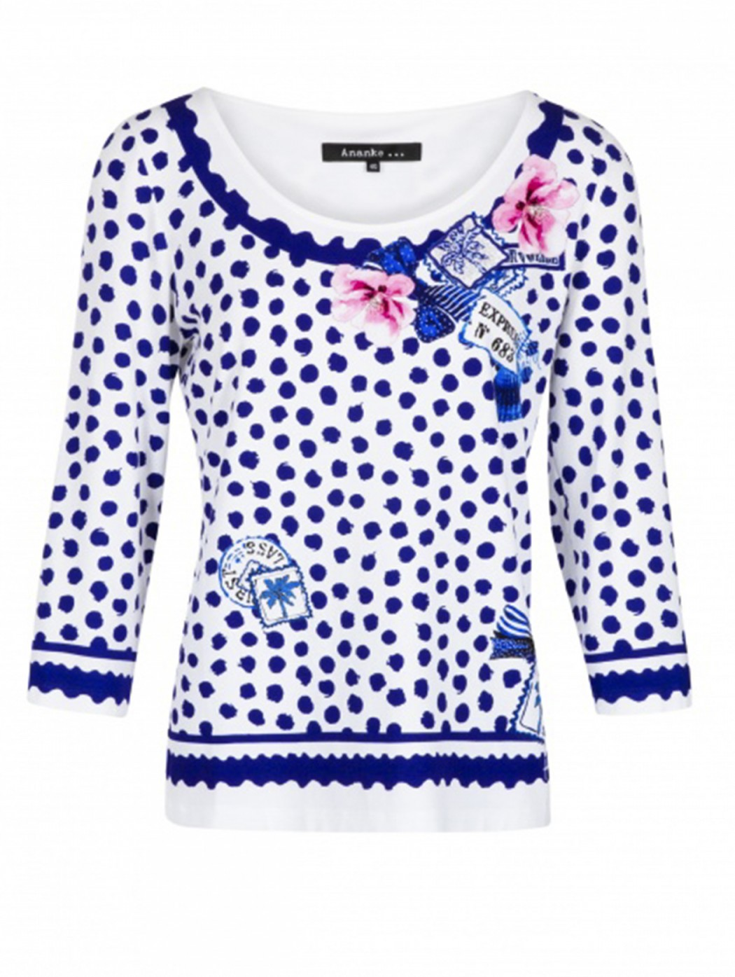 White and blue dots T-shirt...