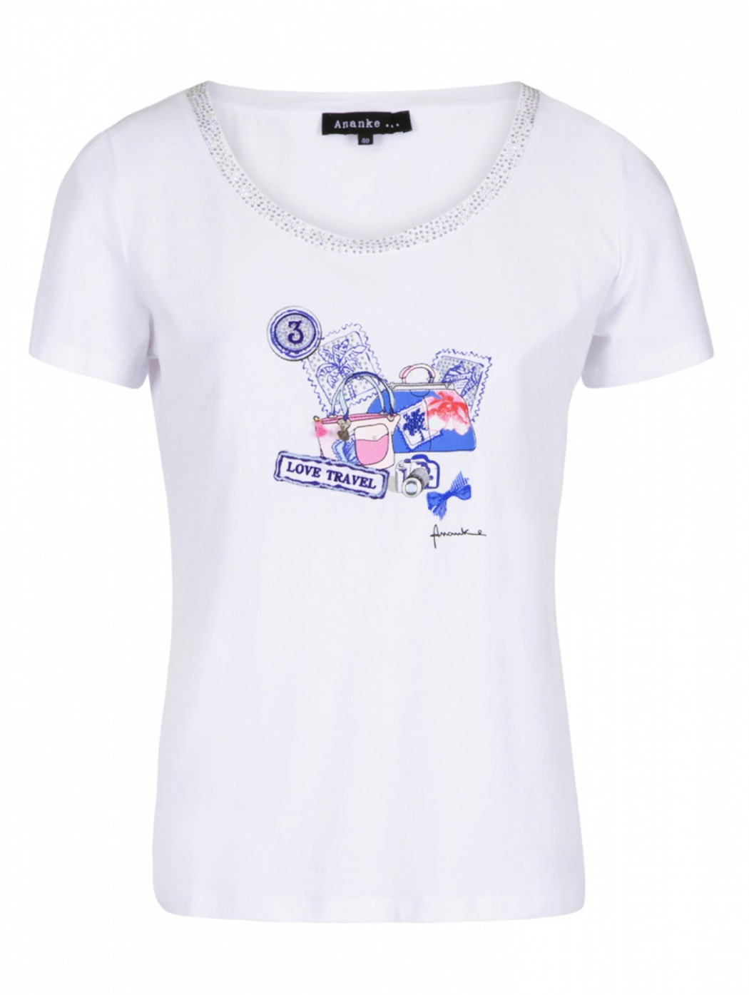 White T-shirt with beige...