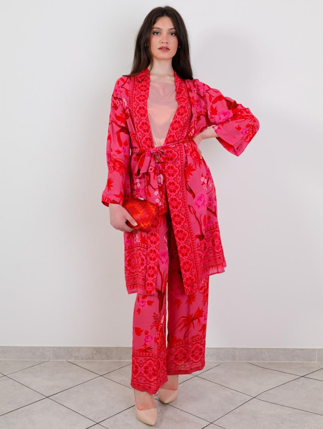 Red and fuchsia silk kimono...