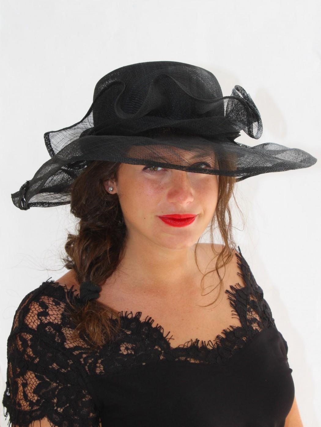 Black large wedding hat...